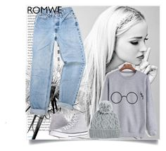 """""""Romwe Contest"""" by enigma-93 ❤ liked on Polyvore featuring Wall Pops!, Oris, Merola, Converse and Rella"""