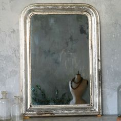 One of a Kind Antique Mirror Louis Phillipe Silver Leaf Vintage Furniture, Painted Furniture, Diy Furniture, Entry Mirror, Mirror Mirror, Wood Mirror, Amy Howard Paint, Leaf Projects, Diy Projects