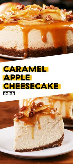 Caramel Apple Cheesecake literally tastes like fall thanks to the fresh apples. Get the recipe at Delish.com. #Delish #recipes #food #cheesecake #partyideas #cakeideas #cake #fall #fallfood #desserts #partyfood