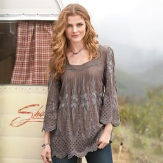 "JULIANNA TUNIC -- Reincarnated from gentler days, the refined embellishment of lush embroidery, laser-cut openwork and passementerie braid renders our soft tunic irresistible. Rayon. Hand wash. Imported. Exclusive. Sizes XS (2), S (4 to 6), M (8 to 10), L (12 to 14), XL (16). Approx. 31""L."