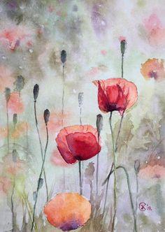 Watercolor on paper No framing. Watercolor Poppies, Watercolor Illustration, Poppies Painting, Poppies Art, Poppies Tattoo, Abstract Watercolor Art, Watercolor Portraits, Watercolor Landscape, Abstract Paintings