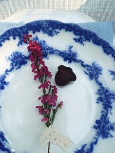 Vintage blue and white plate. English vintage porcelain.