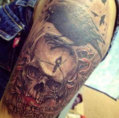 Killer skull tattoo by Kelly V at Mao Tattoo. Malaysian Tattoo Scene. #tattoo #tattoos #ink