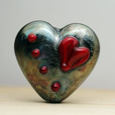SRA Lampwork Glass Bead Black Heart Focal by StoneDesignsbySheila, $22.00