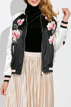 Sequin Floral Embroidered Baseball Jacket #jewelry, #women, #men, #hats, #watches, #belts, #fashion