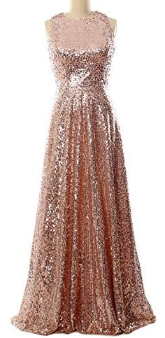 MACloth Women A Line Sequin Long Bridesmaid Dress Evening Formal Party Gown  (14, Rose
