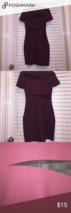 Short party dress small 4! Maroon with black mesh size small mini dress from express. Only worn once! Express Dresses Mini