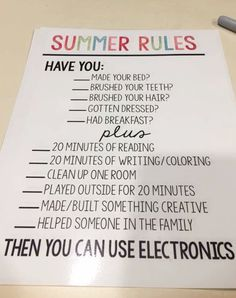 This is such a cute and SMART ideas for kids during the summer to be sure they do the necessary stuff BEFORE getting on their phones and tablets. #momhacks #lifehacks