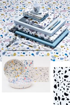 On the terrazzo Recycled Plastic Furniture, Plastic Texture, Ceramic Design, Texture Design, Terrazzo, Recycling, Decorative Boxes, Design Ideas, Design Styles