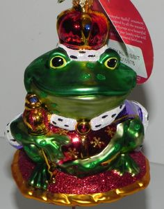 Christopher Radko Frog Ornament Royal Ribbit Christmas