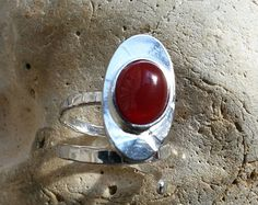Sterling Silver Adjustable Oval Ring with Carnelian Cabochon