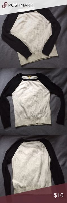 Fuzzy Sweater Black and white baseball style sweater from Forever 21 Forever 21 Sweaters
