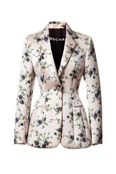 Shop Duchesse Satin Jacquard Neoprene Bonded Blazer by Rochas - Moda Operandi Blazer Floral, Floral Jacket, Classy Outfits, Casual Outfits, Fashion Outfits, Womens Fashion, Casual Attire, Blazer Fashion, Work Outfits