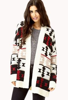 Not usually my style but all I want to do is cuddle up in this cardigan / Comfy Open-Front Geo Cardigan | FOREVER21 - 2073136748