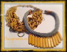 Κολιε με υφασμα & ξύλο. Bracelets, Leather, Jewelry, Fashion, Moda, Jewlery, Jewerly, Fashion Styles, Schmuck