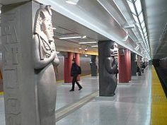 One of the pillars with Egyptian figure in the Museum subway station, Toronto, Located at 75 Queen's Park at Charles Street West. Named after the Royal Ontario Museum, Toronto. Royal Ontario Museum, London Transport, London Underground, Ancient Egypt, Modern Architecture, Egyptian, Transportation, World, Toronto Canada