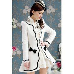 USD27.99New Style Elegant Long Sleeve White Long Coat