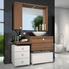 Armário para Banheiro com Espelheira, Balção para pia, Gaveteiro e Baú Vicenza Com Cuba Branco/Nogal Sevilha - Celta Móveis | Lojas KD