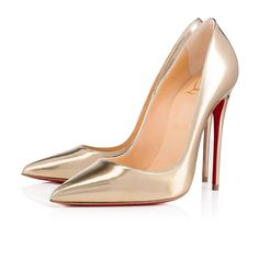 """""""So Kate"""" is a Christian Louboutin signature classic known for her pointed toe and superfine stiletto heel. At 120mm, this single-sole pump in light gold antispecchio leather is the secret to statement style perfection."""