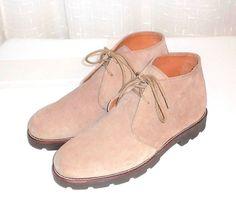 Polo Ralph Lauren Beige Suede Leather Lace Up Chukka Ankle Boot  Men's 7.5 D #PoloRalphLauren #ChukkaAnkleBoot