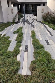 a Gray Brick Road in a California Beachside Courtyard Modern Beach Vision in Morro Bay, California by Jeffrey Gordon Smith Landscape Architecture Landscape And Urbanism, Urban Landscape, House Landscape, Modern Landscaping, Backyard Landscaping, Pavement Design, Paving Design, Landscape Architecture Design, Architecture Jobs