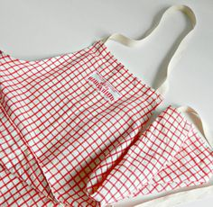 Vintage Full Length Apron. Red & White Checked by retrogroovie
