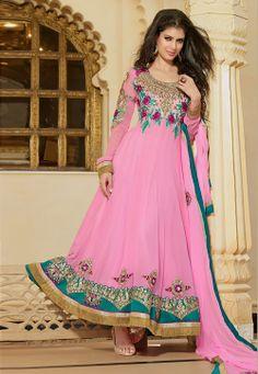 #Pink Anarkali Suite