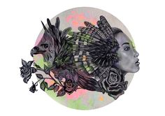 """Lady meets eagle""by Jenna Coverly  #ElementEdenArtSearch  http://pinterest.com/jennacoverlyy/live-learn-grow-art-entry/"