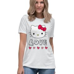 Hello Kitty Love and Hearts Valentine Officially Licensed Sanrio Hello Kitty Apparel Hello Kitty T Shirt, Valentines Design, Valentine T Shirts, Sanrio Hello Kitty, Sweater Hoodie, Hearts, Hoodies, Sweaters, Color