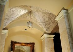 Gina Wolfrum, a decorative painter in Ohio, is known for her gorgeous ceilings. Visit her website, Elegant Finishes by Gina, to drool over her work. Dome Ceiling, Ceiling Decor, Ceiling Design, Ceiling Lights, Ceiling Ideas, Rome Architecture, Architecture Details, Ribbed Vault, Ceiling Finishes