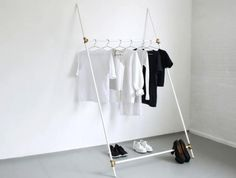paint the connectors of 4 PVC pipes gold, bronze, or silver for charm, and use this lean-to as chic innovative closet extensions or open space storage