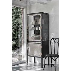 freestanding kitchen or dining cabinet in an industrial style Metal Storage Cabinets, Wooden Cabinets, Quirky Homeware, Dining Cabinet, Floating Cabinets, Freestanding Kitchen, Luxury Furniture, Industrial Furniture, Room Chairs