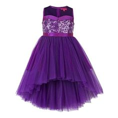 Girls purple hi low flower girl dress. Sequins embellishment at the front bodice for an elegant look. Hi-Low skirt pattern. Satin sash belt tie-up for easy wearing & better fit. Button opening at the back. Cotton lining at the bodice for skin comfort.