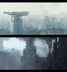 Sketchiness + atmosphere to hint at shapes and layers.  Especially in the bottom of the top picture.  Sketchy light grey lines hint at a building's floors.