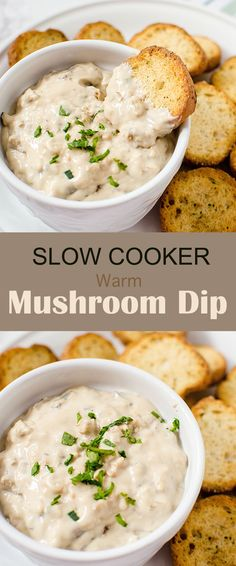 Slow Cooker Warm Mushroom Dip appetizer recipe, I love that it's made in the crockpot, so it's one you can make while getting doing other things. Delicious!