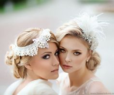 Wedding hair & neutral makeup in the style of The Great Gatsby