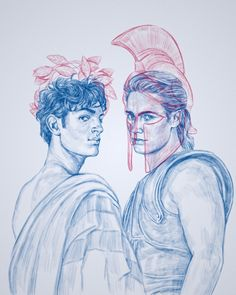 Achilles And Patroclus, Greek Mythology Humor, Book Wall, New Gods, Couple Drawings, Fandoms, Greek Gods, Ancient Greece, Les Oeuvres