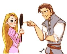 // Rapunzel and Flynn.