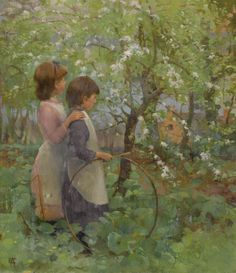 Large (Wikimedia) Elizabeth Adela Forbes founded the Newlyn Art School with her husband in Cornwall. The Newlyn School looked to the Impressionists as a model, painting 'en plein air,' but chose fairly traditional subjects. Here, a pair of children...