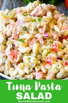 Our Tuna Pasta Salad, made with creamy dressing, fresh vegetables, and fresh herbs, is a true summer table staple. Works perfectly as a main dish or a side! Add peas and carrots. Tuna Recipes, Pasta Salad Recipes, Healthy Recipes, Healthy Options, Dinner Recipes, Tuna Macaroni Salad, Tuna Pasta, Spring Salad, Summer Salads