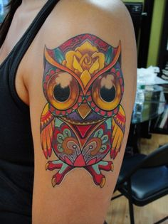Sugar Skull style owl. Love this one!