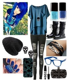 """~Electric Emo Blue~"" by raianna-starz ❤ liked on Polyvore featuring Forever 21, Marc by Marc Jacobs, Boohoo, Mes Demoiselles..., Rimmel, Alexander McQueen, Dark, emo and blackboots"