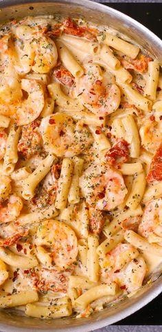 Sun Dried Tomato Pasta with Shrimp in creamy Mozzarella sauce. Italian pasta recipe. Gluten free pasta.