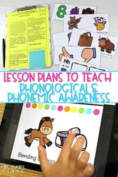 You will love these phonological awareness lesson plans! These daily lesson plans come with printable and digital resources. Perfect for kindergarten and first grade. Aligned to our Engaging Readers Kindergarten units, too! #phonologicalawareness #phonemicawareness #lessonplans