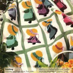 Crochet Sweet Sunbonnet Sue Afghan Pattern | BeadedBundles - Instructional on ArtFire