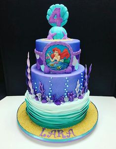 Birthday Cake Designs No matter what the occasion, Happy Birthday Cakes has the perfect celebration Little Mermaid Birthday Cake, Little Mermaid Cakes, Candy Theme Birthday Party, Happy Birthday Cakes, 5th Birthday, Birthday Ideas, Sirenita Cake, Ariel Cake, Party Cakes