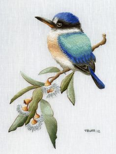 Trish Burr Embroidery Kit Forest Kingfisher by InspireEmbroidery, bring this delightful bird to life