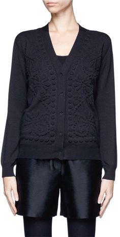 Lanvin Embossed Floral Knit Cardigan - Lyst