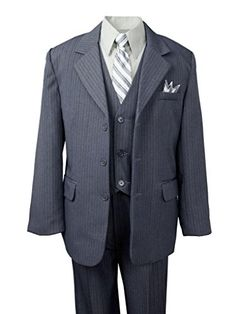 Big Boys' Polished Pinstripe Suit with Coordinated Tie & Handkercheif gray size 8