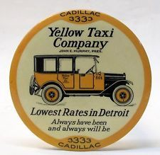 1920's YELLOW TAXI CAB COMPANY Detroit advertising paperweight pocket mirror *